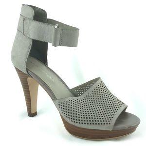 Via Spiga Platform Heel Sandals Gray Leather Sz 6